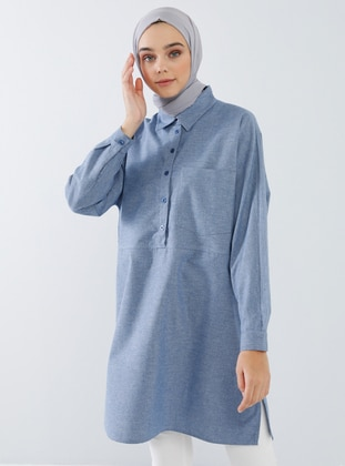 Indigo - Blue - Point Collar -  - Tunic