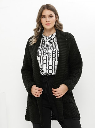 Black - Shawl Collar - Acrylic -  - Plus Size Cardigan - Alia