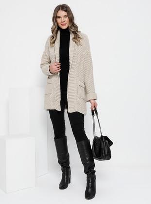 Stone - Shawl Collar - Acrylic -  - Plus Size Cardigan - Alia
