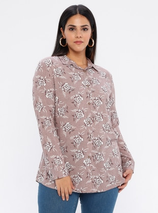 Brown - Point Collar - Viscose - Plus Size Tunic