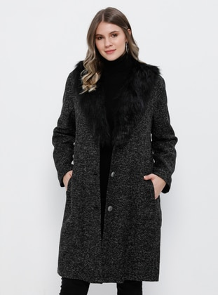 Black - Fully Lined - V neck Collar -  - Plus Size Coat