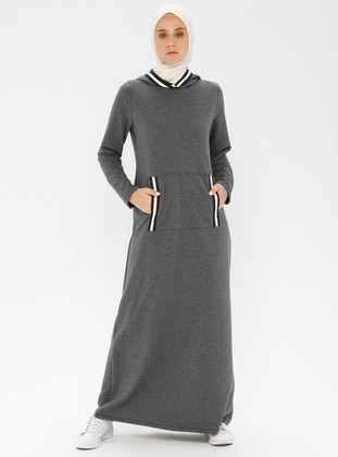 Anthracite - Stripe - Unlined - Viscose - Dress