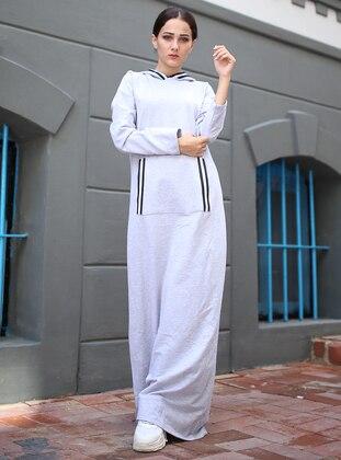 Gray - Stripe - Unlined -  - Dress