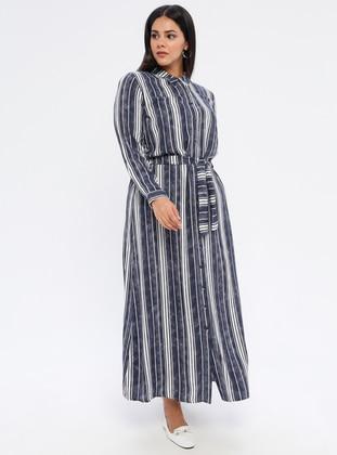 Smoke - Stripe - Unlined - Point Collar -  - Plus Size Dress