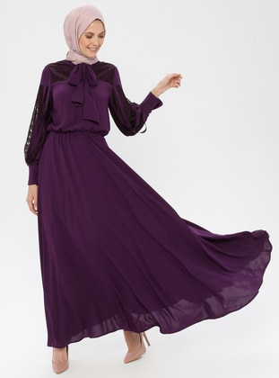 Purple - Crew neck - Shawl Collar - Fully Lined - Dress