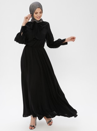 Black - Crew neck - Shawl Collar - Fully Lined - Dress