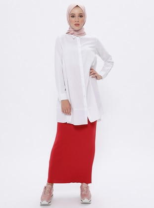 Red - Unlined -  - Viscose - Skirt