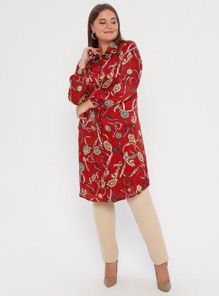 Maroon - Point Collar - Plus Size Tunic