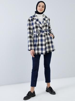 Blue - Plaid - Fully Lined - Shawl Collar - Acrylic -  - Jacket