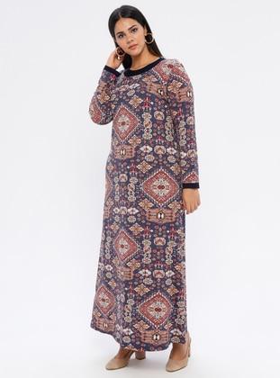 Indigo - Ethnic - Unlined - Crew neck - Viscose - Plus Size Dress