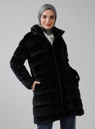 Black - Fully Lined - Polo neck - Coat - Refka