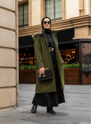 Khaki - Fully Lined - Polo neck - Acrylic - Coat