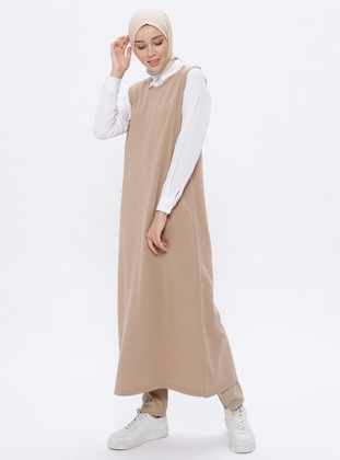 Beige - Crew neck - Unlined -  - Viscose - Dress