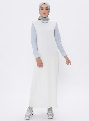 White - Crew neck - Unlined -  - Viscose - Dress