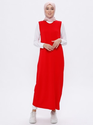Red - Crew neck - Unlined -  - Viscose - Dress