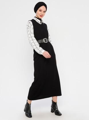 Black - Crew neck - Unlined -  - Viscose - Dress