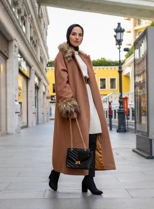 Camel - Fully Lined - Polo neck - Acrylic - Coat