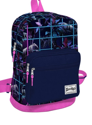 Navy Blue - Pink - Backpack - School Bags