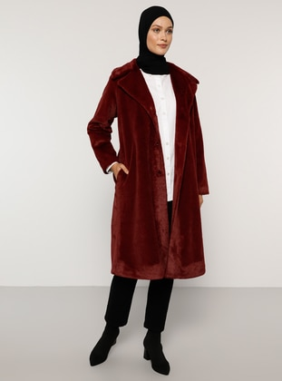 Maroon - Fully Lined - Shawl Collar - Coat