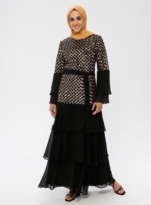 Gold - Unlined - Crew neck - Muslim Evening Dress