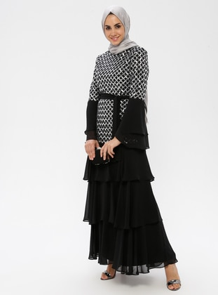 Silver tone - Unlined - Crew neck - Muslim Evening Dress