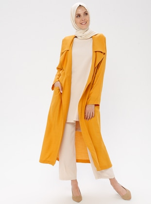 Yellow - Unlined - Shawl Collar - Viscose - Jacket