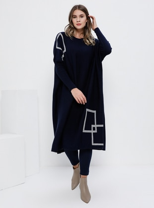 Navy Blue - Geometric - Unlined - Crew neck - Acrylic -  - Plus Size Dress