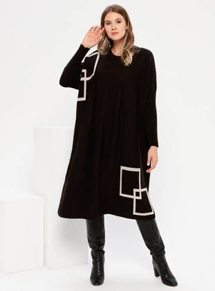 Black - Geometric - Unlined - Crew neck - Acrylic -  - Plus Size Dress