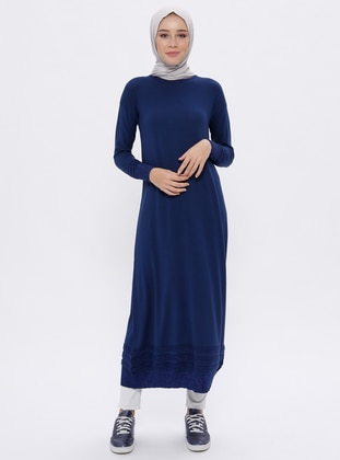 Navy Blue - Crew neck - Unlined -  - Viscose - Dress