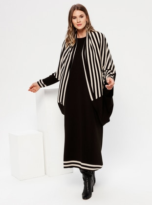 Black - Stone - Crew neck - Unlined - Acrylic - Plus Size Suit - Alia