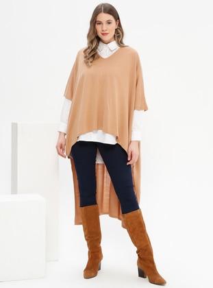 Camel - Crew neck - Acrylic -  - Plus Size Tunic - Alia