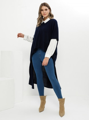 Navy Blue - Crew neck - Acrylic -  - Plus Size Tunic
