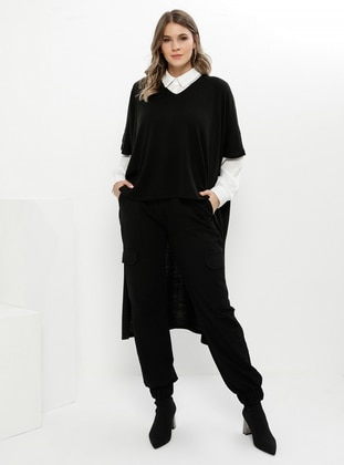 Black - Crew neck - Acrylic -  - Plus Size Tunic