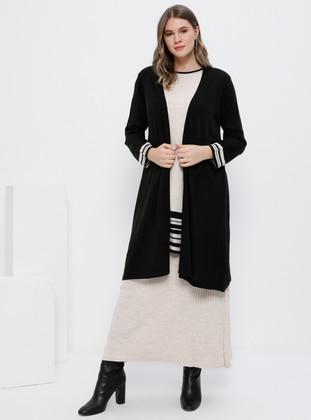 Black - Stone - Crew neck - Unlined - Acrylic - Plus Size Suit