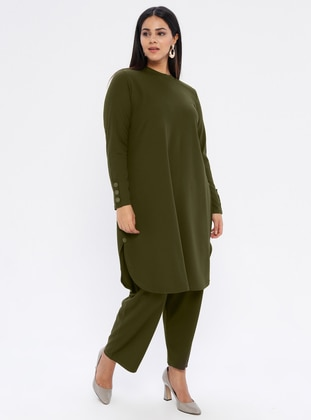 Khaki - Crew neck - Unlined - Plus Size Suit - GELİNCE