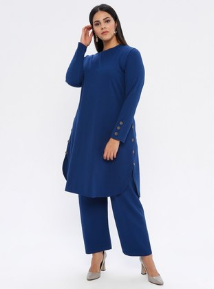 Indigo - Crew neck - Unlined - Plus Size Suit - GELİNCE