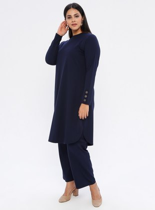 Navy Blue - Crew neck - Unlined - Plus Size Suit - GELİNCE