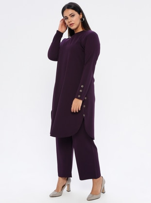 Plum - Crew neck - Unlined - Plus Size Suit - GELİNCE