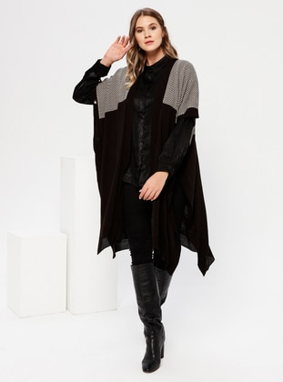 Black - Stripe - Geometric - Acrylic -  - Plus Size Cardigan - Alia