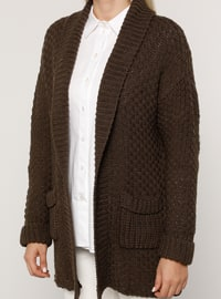 Brown - Shawl Collar - Acrylic -  - Plus Size Cardigan