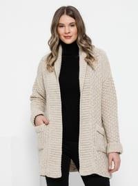 Stone - Shawl Collar - Acrylic -  - Plus Size Cardigan
