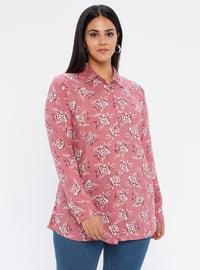 Pink - Point Collar - Viscose - Plus Size Tunic