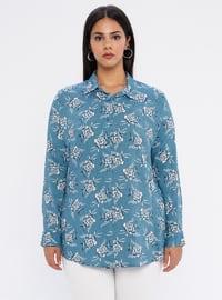 Turquoise - Point Collar - Viscose - Plus Size Tunic