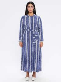 Blue - Stripe - Unlined - Point Collar -  - Plus Size Dress