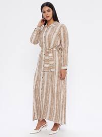 Mink - Stripe - Unlined - Point Collar -  - Plus Size Dress