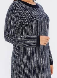 Navy Blue - Multi - Unlined - Crew neck - Viscose - Plus Size Dress