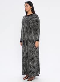 Black - Multi - Unlined - Crew neck -  - Viscose - Plus Size Dress