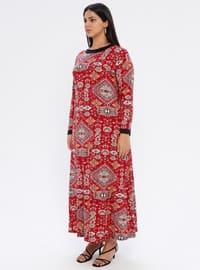 Maroon - Ethnic - Unlined - Crew neck - Viscose - Plus Size Dress