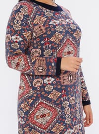 Indigo - Ethnic - Unlined - Crew neck - Viscose - Plus Size Dress
