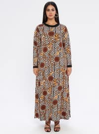 Yellow - Black - Geometric - Unlined - Crew neck - Viscose - Plus Size Dress